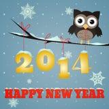 Owl Happy nytt år 2014 Arkivfoton