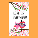 Owl Happy Valentines Day-vlieger vector illustratie