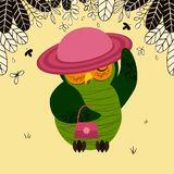 Owl in hat with handbag royalty free illustration