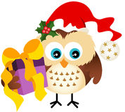 Owl with hat Santa Claus holding Christmas gift Royalty Free Stock Image