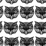 Owl head. Doodle hand drawn. Seamless patern black on white back Stock Photos