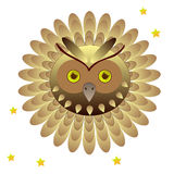 Owl head with feathers Royalty Free Stock Photos