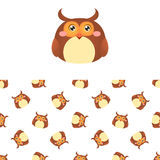 Owl Head Icon And Pattern illustration de vecteur