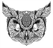 OWL head tattoo. psychedelic Stock Photo