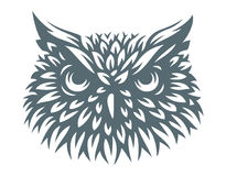 Owl head - vector illustration. Icon design stock image
