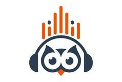 Owl headphone music icon logo vector illustration