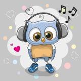 Owl with headphones and hearts. Cute cartoon Owl with headphones and hearts Stock Photography