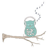 Owl with Headphones Stock Images