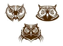 Owl heads mascots Royalty Free Stock Photography