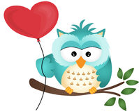 Owl with Heart Balloon Stock Photos