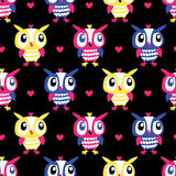 Owl Heart Seamless background Stock Images
