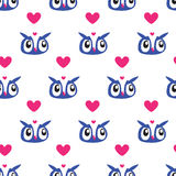 Owl Heart Seamless background Royalty Free Stock Photo