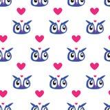 Owl Heart Seamless background Royalty Free Stock Photo