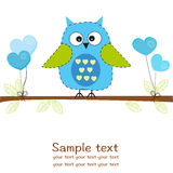 Owl with hearts balloon baby boy shower greeting card Stock Images