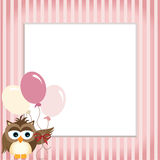 Owl holding balloons in a baby pink frame Stock Image