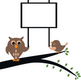 Owl holding banner Royalty Free Stock Images