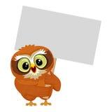 Owl holding blank Placard Stock Photos