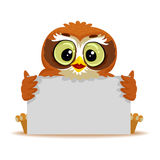 Owl holding blank White Board vector illustration