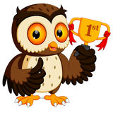 Owl holding championship trophy. Illustration of  owl holding championship trophy Royalty Free Stock Photos