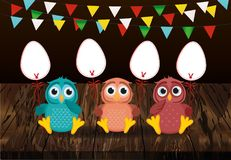 An owl is holding an Easter eggs from a paper on a stick. Garlan. D of flags. Vector on wooden background. Greeting card or invitation for the holiday. Empty Stock Photo