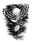 Owl holding in its paws a vintage pocket watch Stock Photography