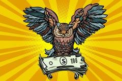 Owl holding in its talons the money. Comic book cartoon pop art retro vector illustration Royalty Free Stock Photo