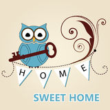 Owl holding key home sweet home Royalty Free Stock Images