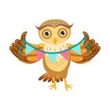 Owl Holding Paper Garland Cute tecknad filmtecken Emoji med Forest Bird Showing Human Emotions och uppförande Arkivbilder