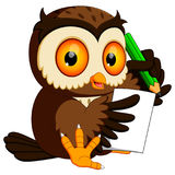 Owl holding pencil and writing Royalty Free Stock Images