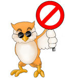 An owl holding a sign Royalty Free Stock Photo