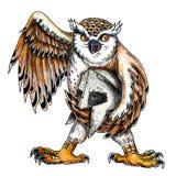 Owl Holding Spartan Helmet Tattoo libre illustration