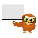 Owl holding white Blank Projection Screen. Vector Illustration of an Owl holding white Blank Projection Screen Stock Photo