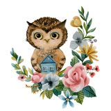 Owl holds a small house . watercolor stock illustration