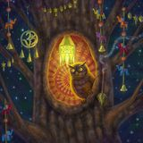 Owl in the hollow at night Royalty Free Stock Photography