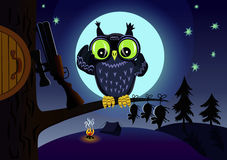 Owl on the hunt. Owl looks through binoculars in search of prey under the moon Stock Image
