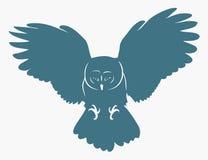 Owl i flyg royaltyfri illustrationer