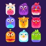 Owl Icon Collection Illustrazione di vettore Fotografie Stock