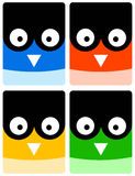 Owl icons. Colorful icons of owls (concept for wisdom or education Stock Images