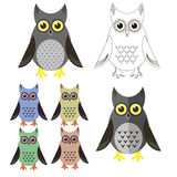 Owl Icons Isolated Stock Images