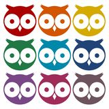 Owl Icons Set Image stock