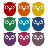 Owl Icons Set Fotografía de archivo libre de regalías