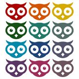 Owl Icons Set Photographie stock libre de droits