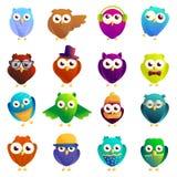 Owl icons set, cartoon style. Owl icons set. Cartoon set of owl vector icons for web design stock illustration