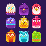 Owl Icons Set Illustrazione di vettore Immagine Stock