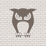 Owl illustration in brick wall Stock Photo