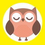 Owl illustration with closed eyes. A colorful illustration of an owl with closed eyes on yellow background Royalty Free Stock Photo