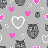 Owl - Illustration. Cute cartoon owls in vector. Childish card i Stock Photos