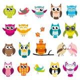 Owl illustration set. Owl simple vector illustration set stock illustration