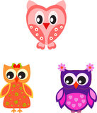 Owl Illustrations, Valentine Owls. Valentine owl illustrations with flowers and hearts, pink owl, purple owl, orange owl, white flowers, pink flowers, birds Royalty Free Stock Image