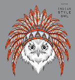 Owl in the Indian roach. Indian feather headdress of eagle. Hand draw vector illustration Stock Image